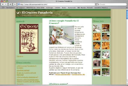 El Crucero Panadería también tiene su web